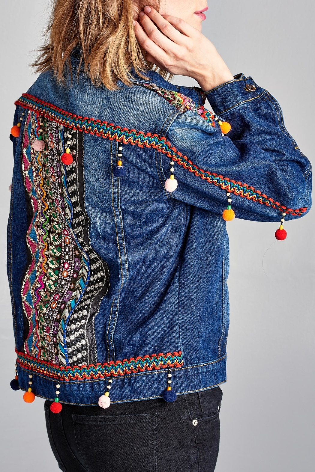 Velzera Pom-Pom Embroidered Jean-Jacket - Main Image