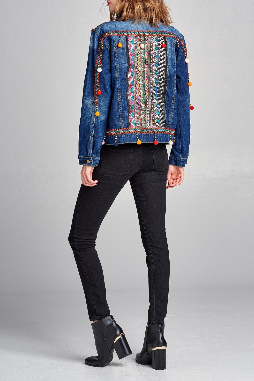 Velzera Pom-Pom Embroidered Jean-Jacket - Side Cropped Image