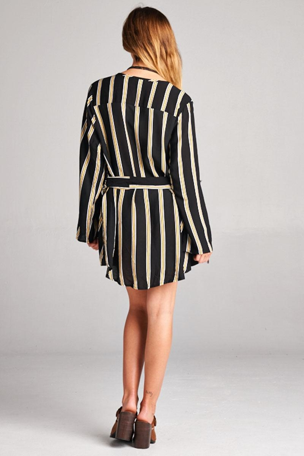 Velzera Stripe Tie-Waist Tunic - Side Cropped Image