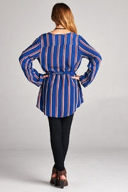 Velzera Stripe Tie-Waist Tunic - Front full body