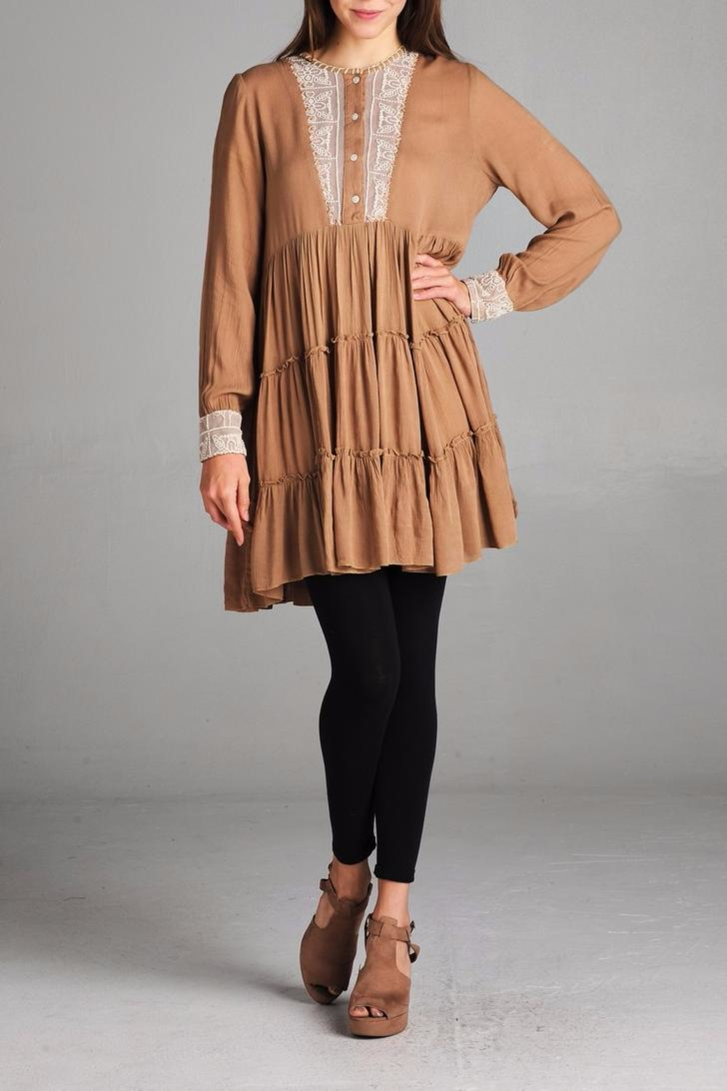 Velzera Taupe Embroidered Tunic Top - Main Image