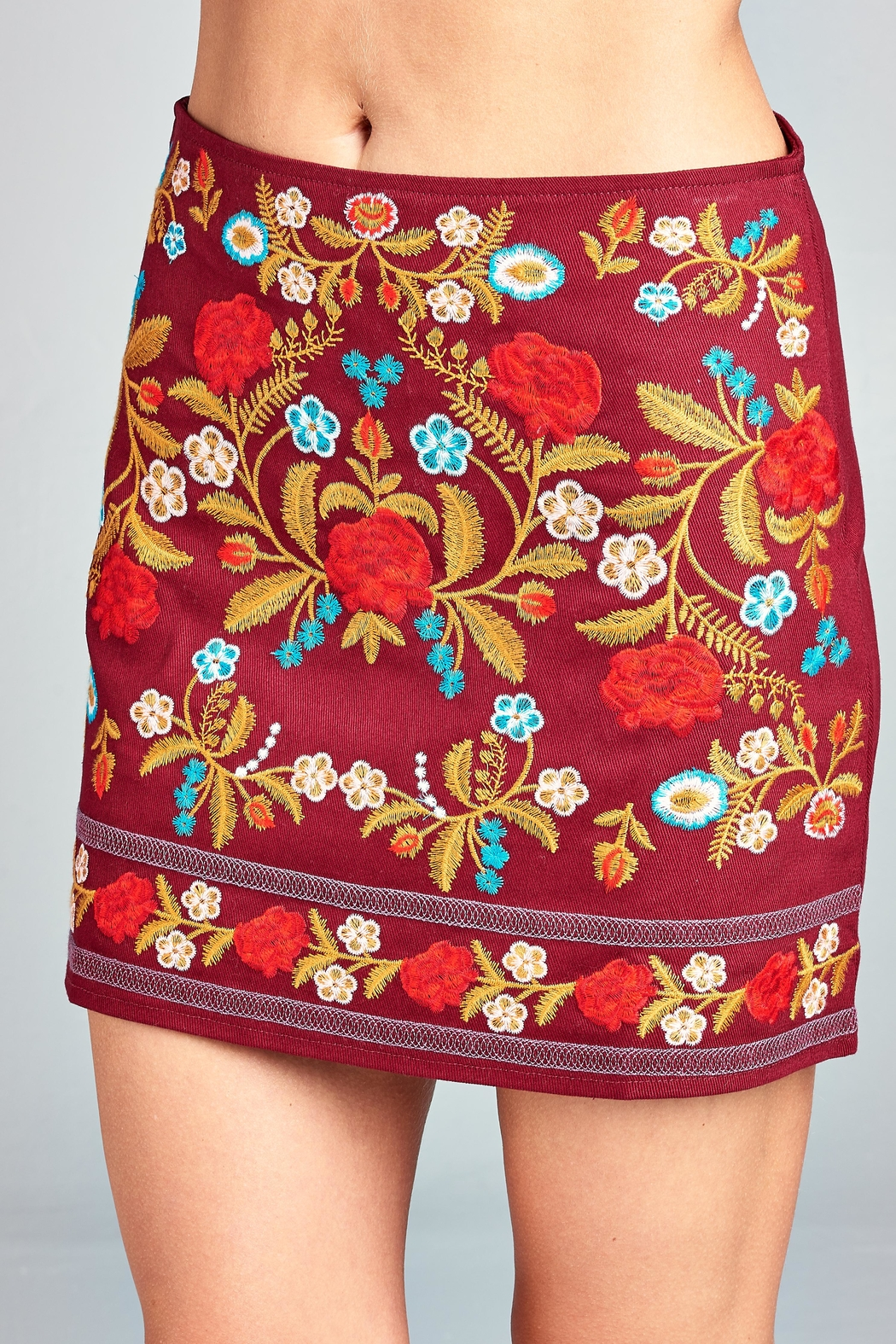 Velzera Wine Floral-Embroidered Mini-Skirt - Front Full Image