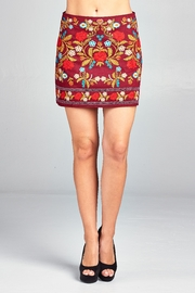 Velzera Wine Floral-Embroidered Mini-Skirt - Product Mini Image