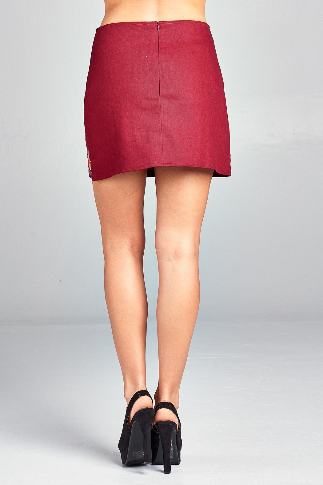 Velzera Wine Floral-Embroidered Mini-Skirt - Side Cropped Image