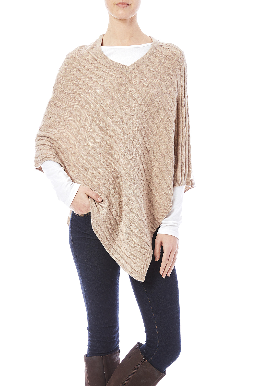 Venezia Cashmere Cashmere Cable-Knit Poncho from San Diego ...