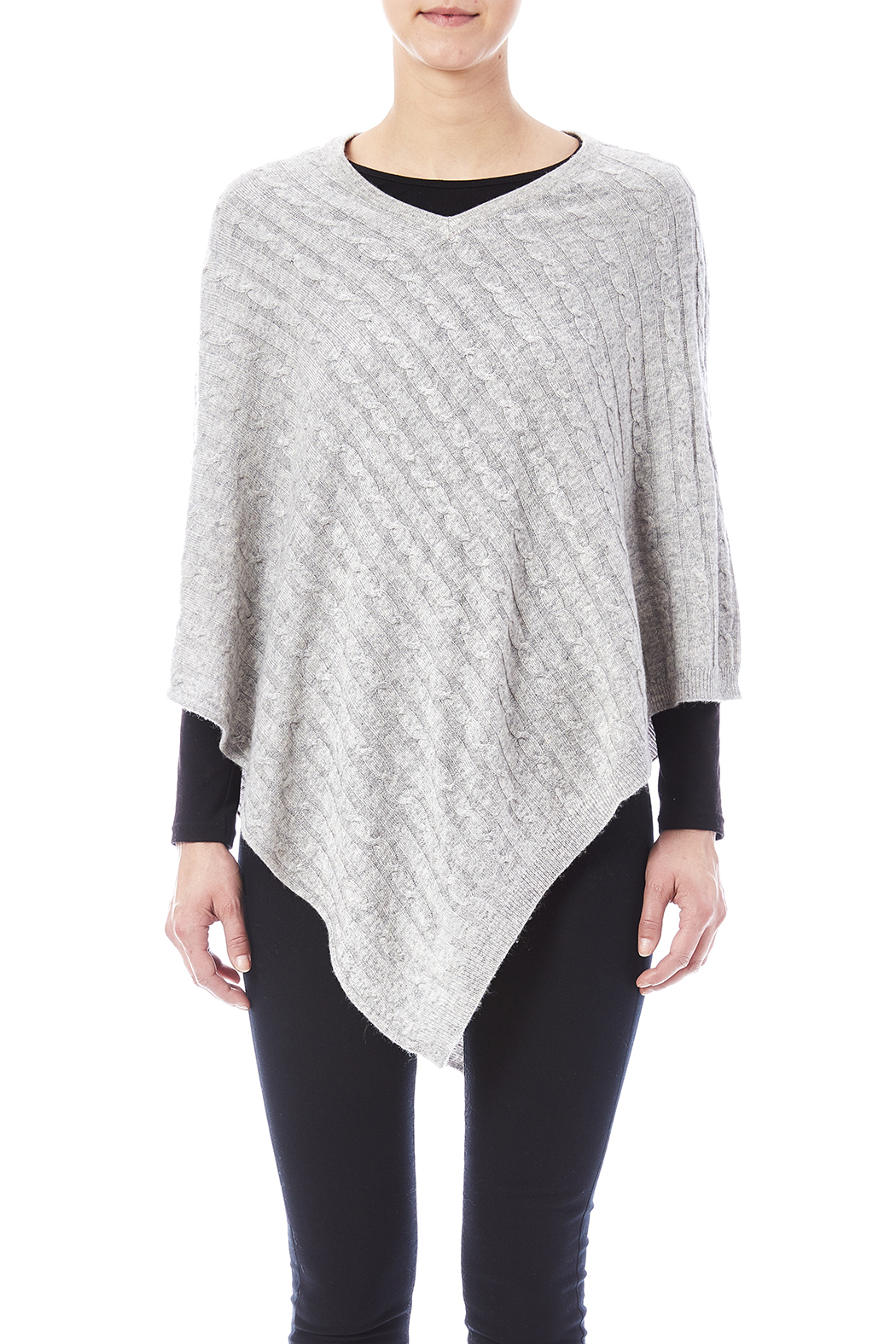 Venezia Cashmere Cashmere Cable-Knit Poncho - Side Cropped Image