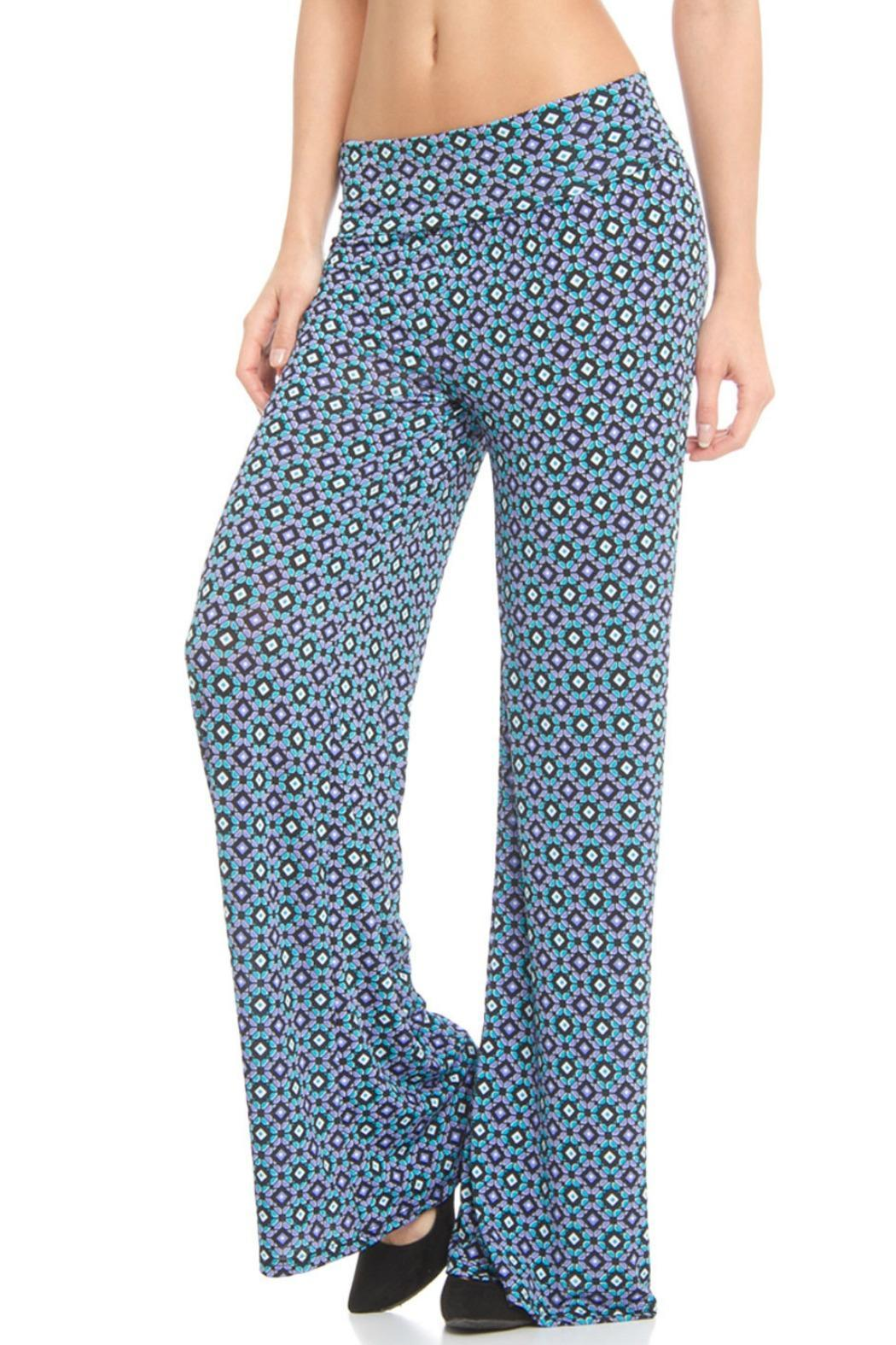 Venezia Cashmere Printed Palazzo Pants - Front Cropped Image