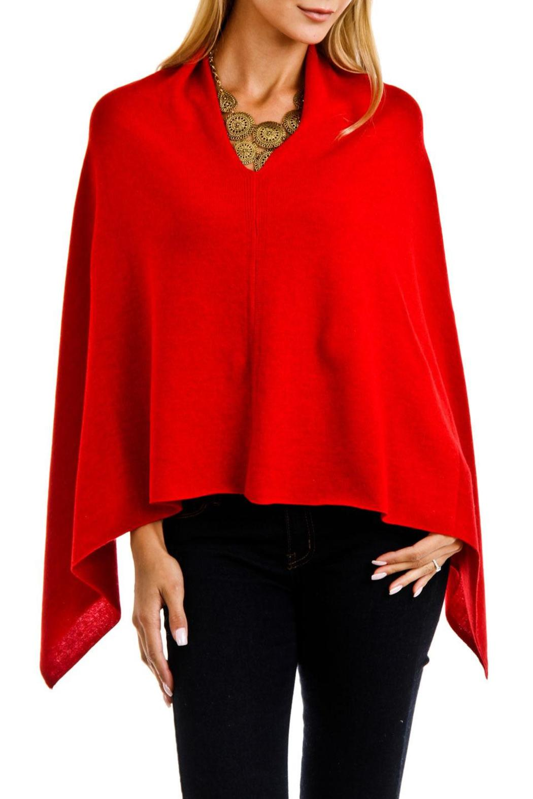 Venezia Cashmere Red Cashmere Poncho Wrap - Front Cropped Image