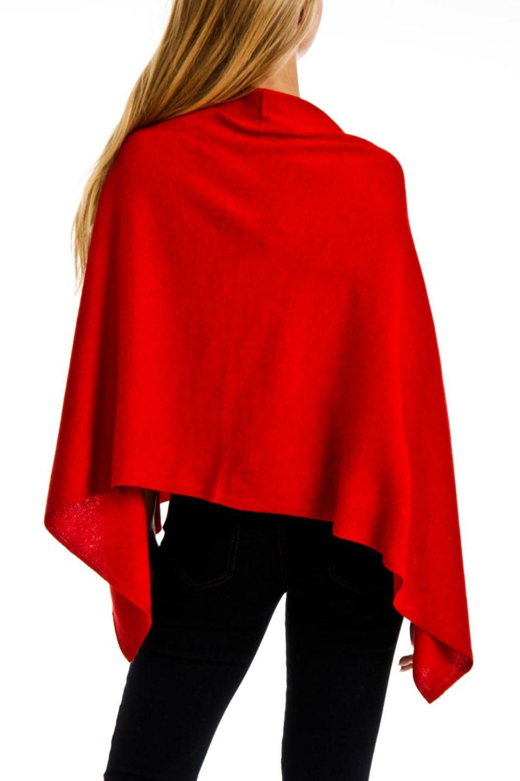 Venezia Cashmere Red Cashmere Poncho Wrap - Front Full Image