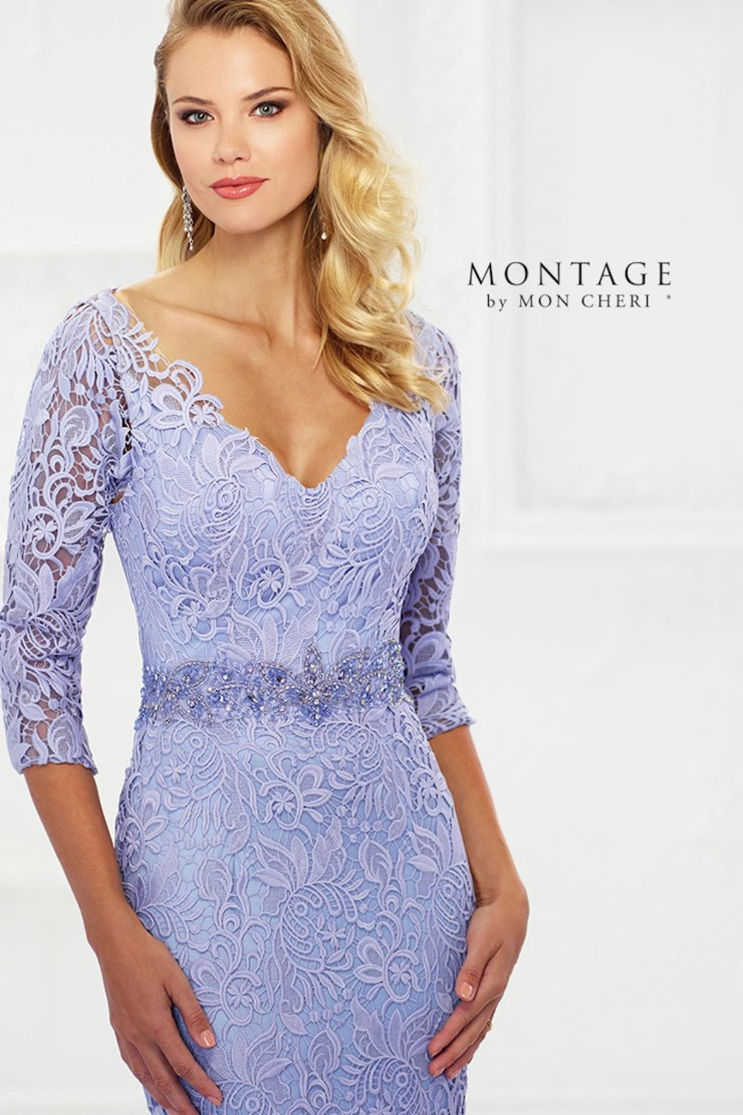 Montage Venise Lace Fit & Flare Gown, Latte - Side Cropped Image