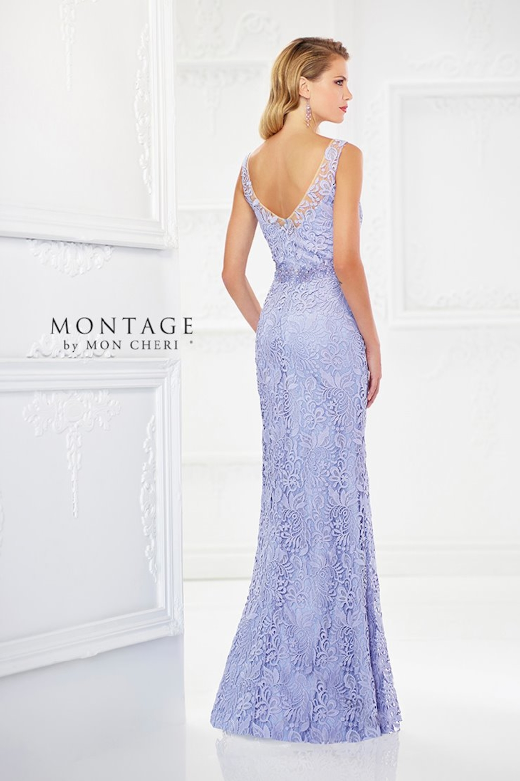 Montage Venise Lace Fit & Flare Gown, Latte - Front Full Image