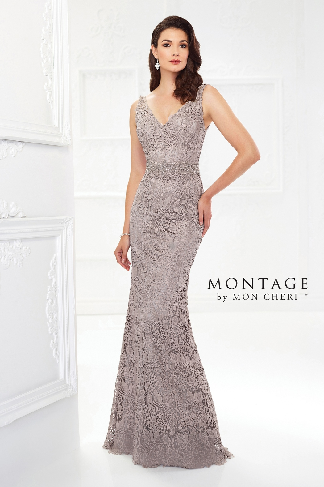 Montage Venise Lace Fit & Flare Gown, Latte - Front Cropped Image