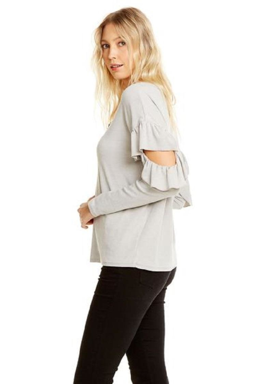 Chaser Vented Ruffle Dolman - Side Cropped Image