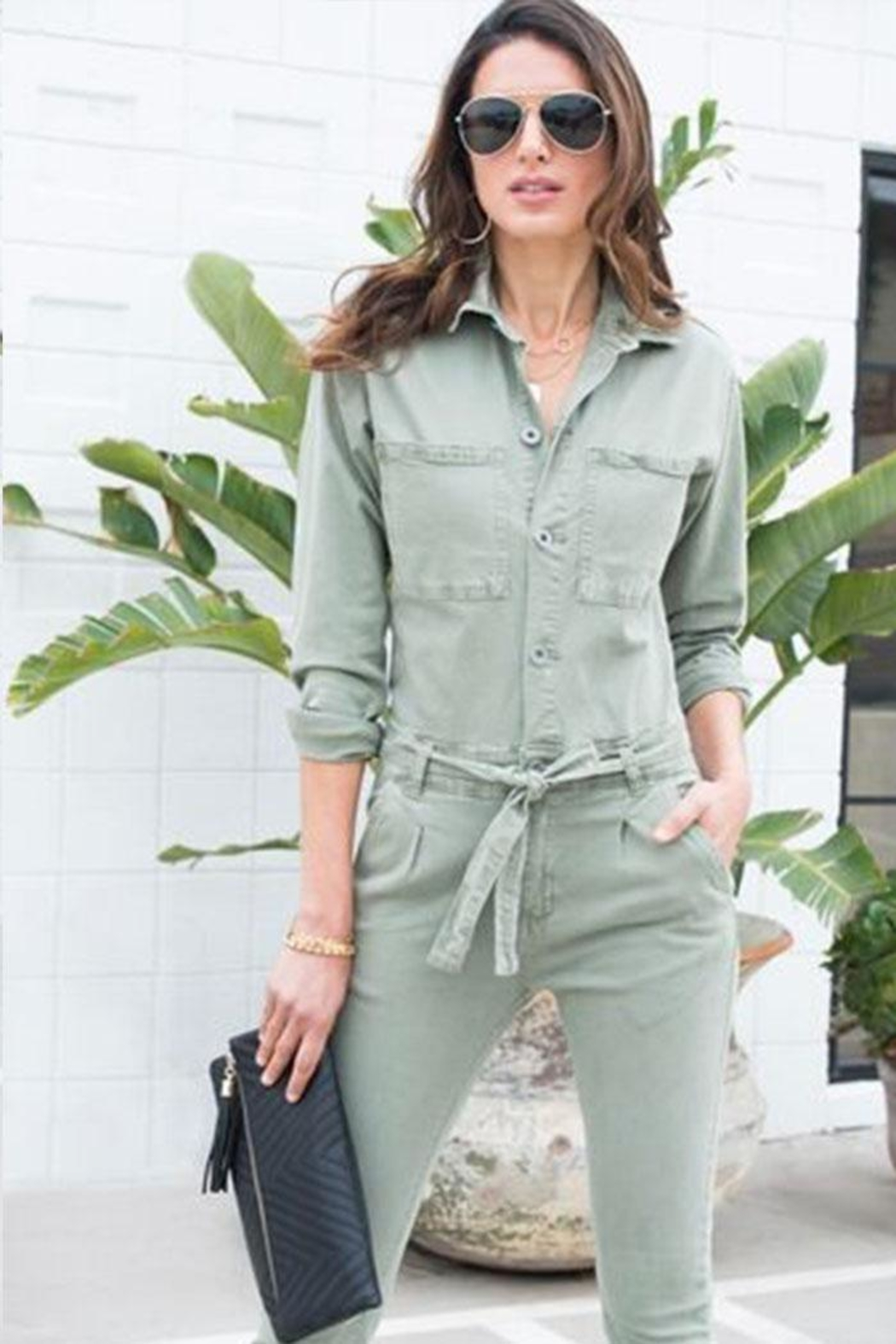 Venti 6 Button Up Jumpsuit - Front Full Image