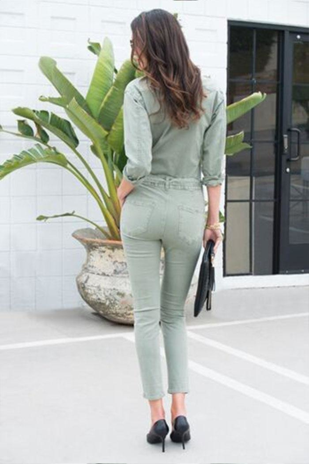 Venti 6 Button Up Jumpsuit - Back Cropped Image