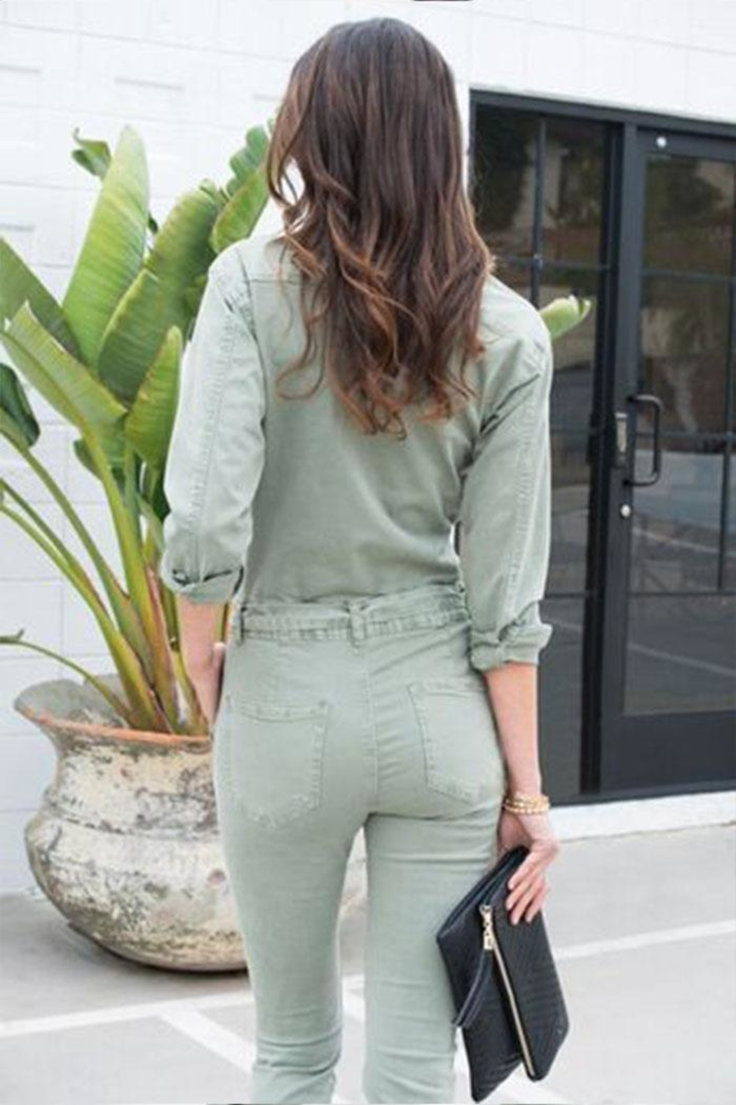 Venti 6 Button Up Jumpsuit - Side Cropped Image