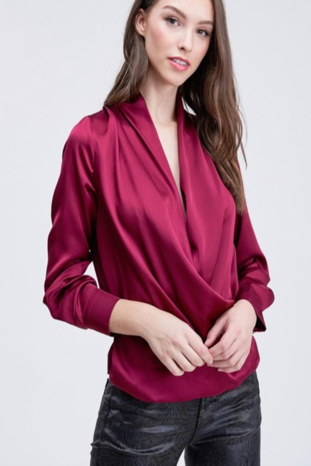 Venti 6 Draped Crossover Blouse - Front Cropped Image