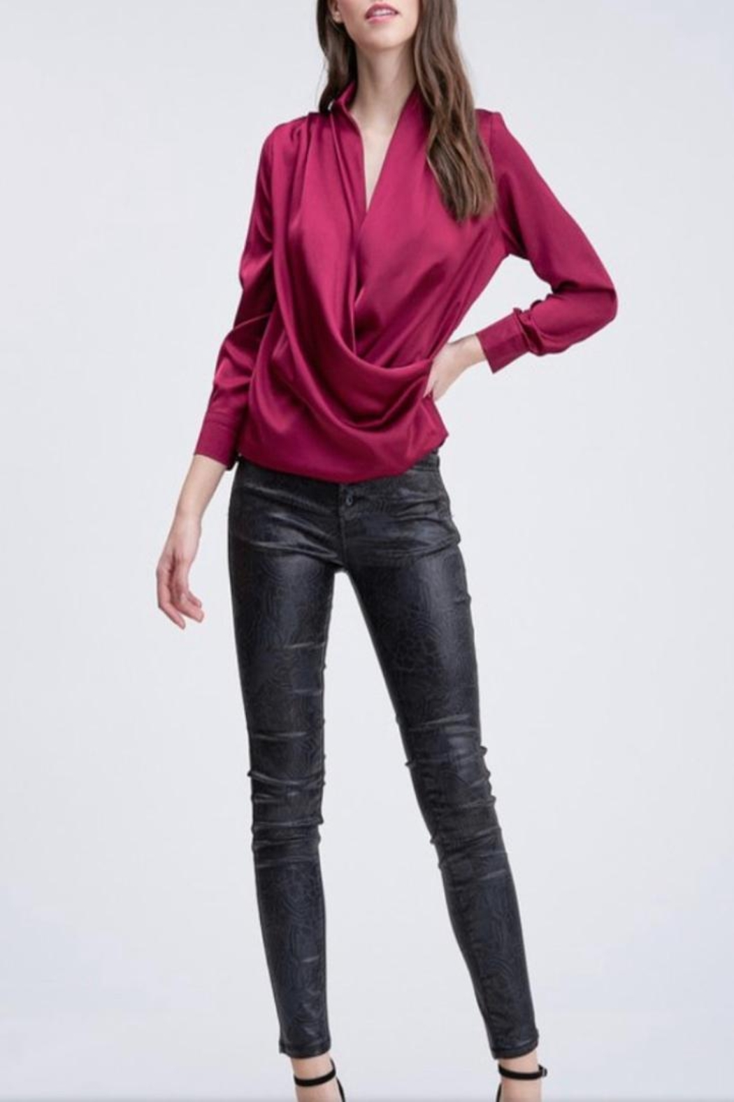 Venti 6 Draped Crossover Blouse - Front Full Image