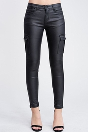 Venti 6 Leather Cargo Pants - Front full body