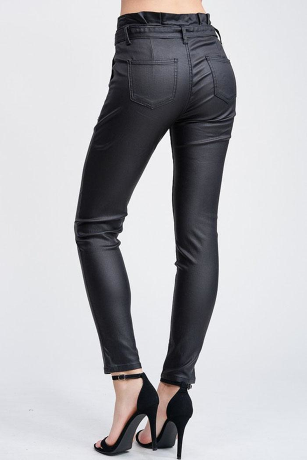 Venti 6 Leather Skinny Pants - Back Cropped Image