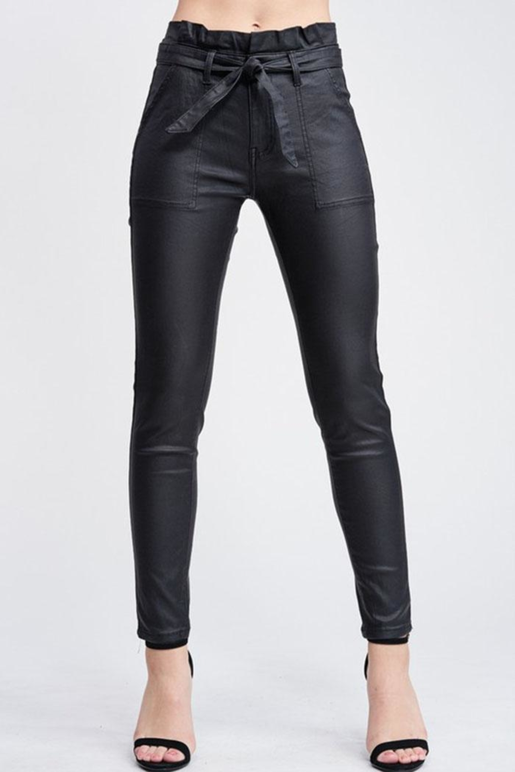 Venti 6 Leather Skinny Pants - Front Full Image