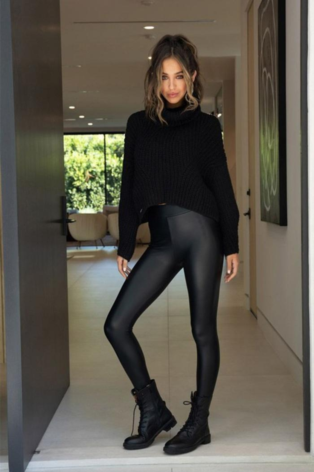 Venti 6 Pu Coated Legging - Front Cropped Image