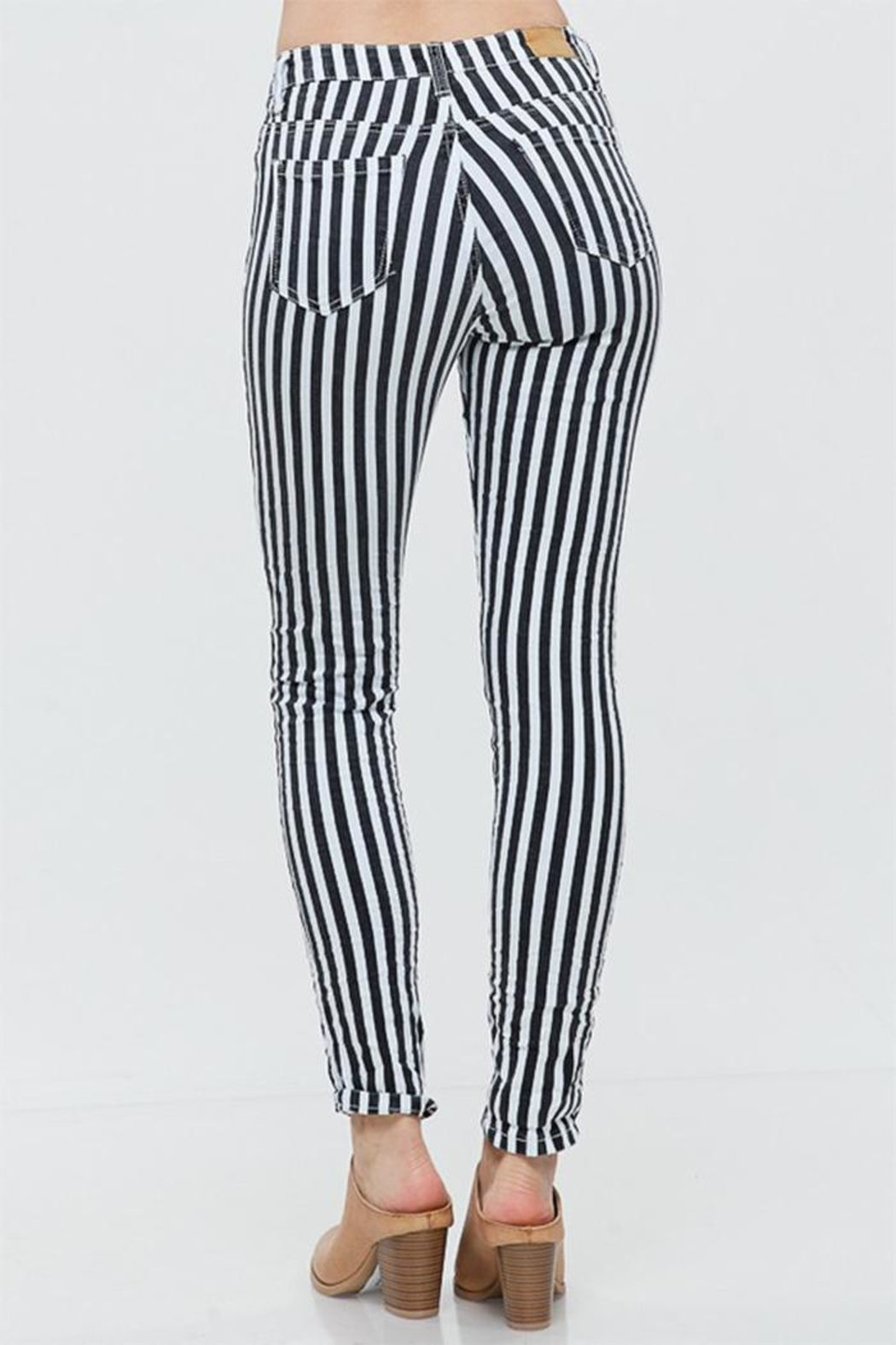Venti 6 Striped Crinkle Pants - Side Cropped Image