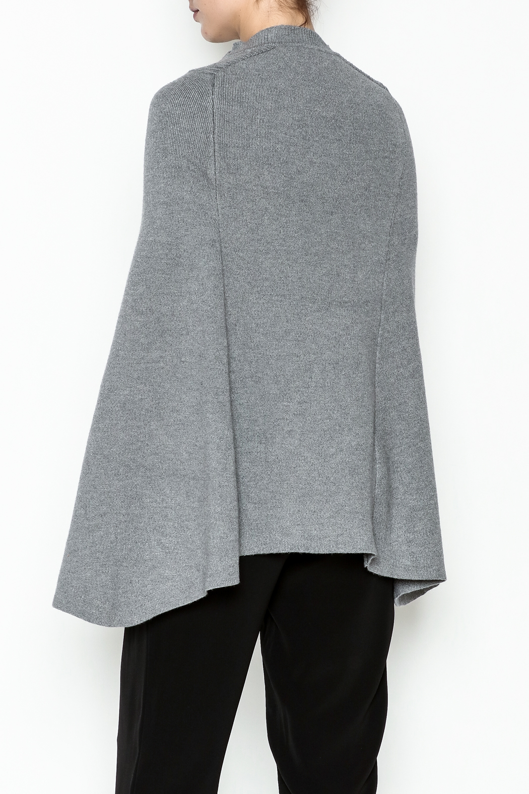Veond Prussian Sweater Cape - Back Cropped Image