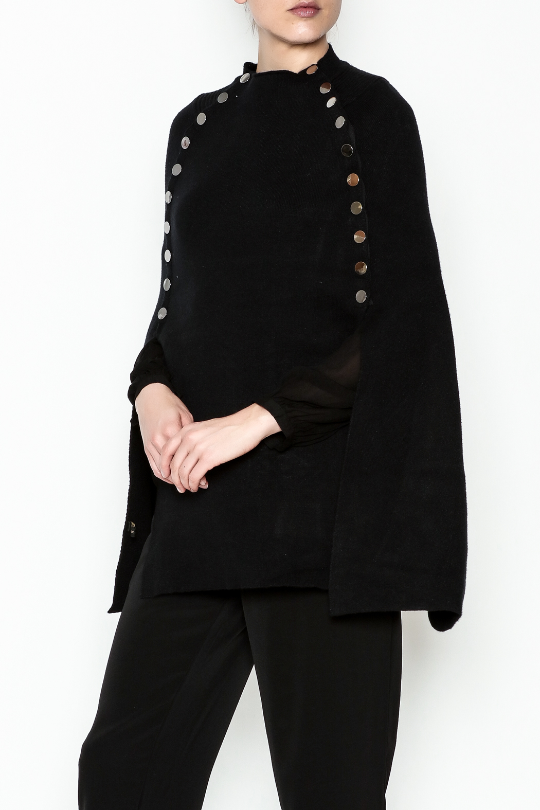 Veond Prussian Sweater Cape - Front Cropped Image