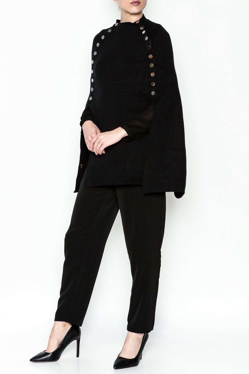 Veond Prussian Sweater Cape - Side Cropped Image