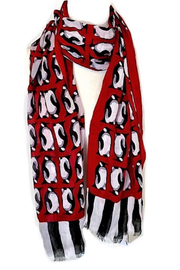 Vera Bradley Playful Penguins Red Scarf - Product Mini Image