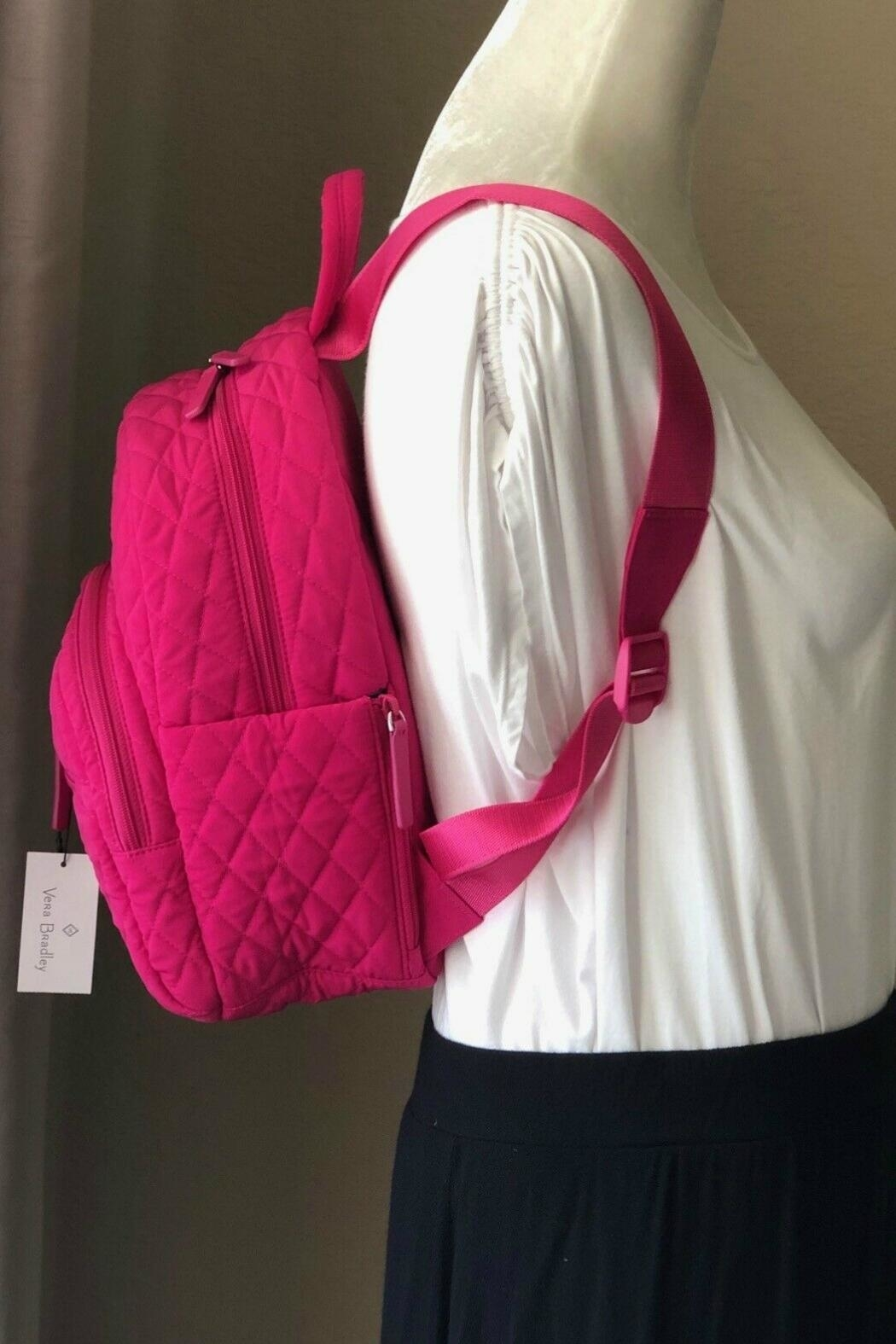 Vera Bradley Fuchsia Compact Essential-Backpack - Back Cropped Image