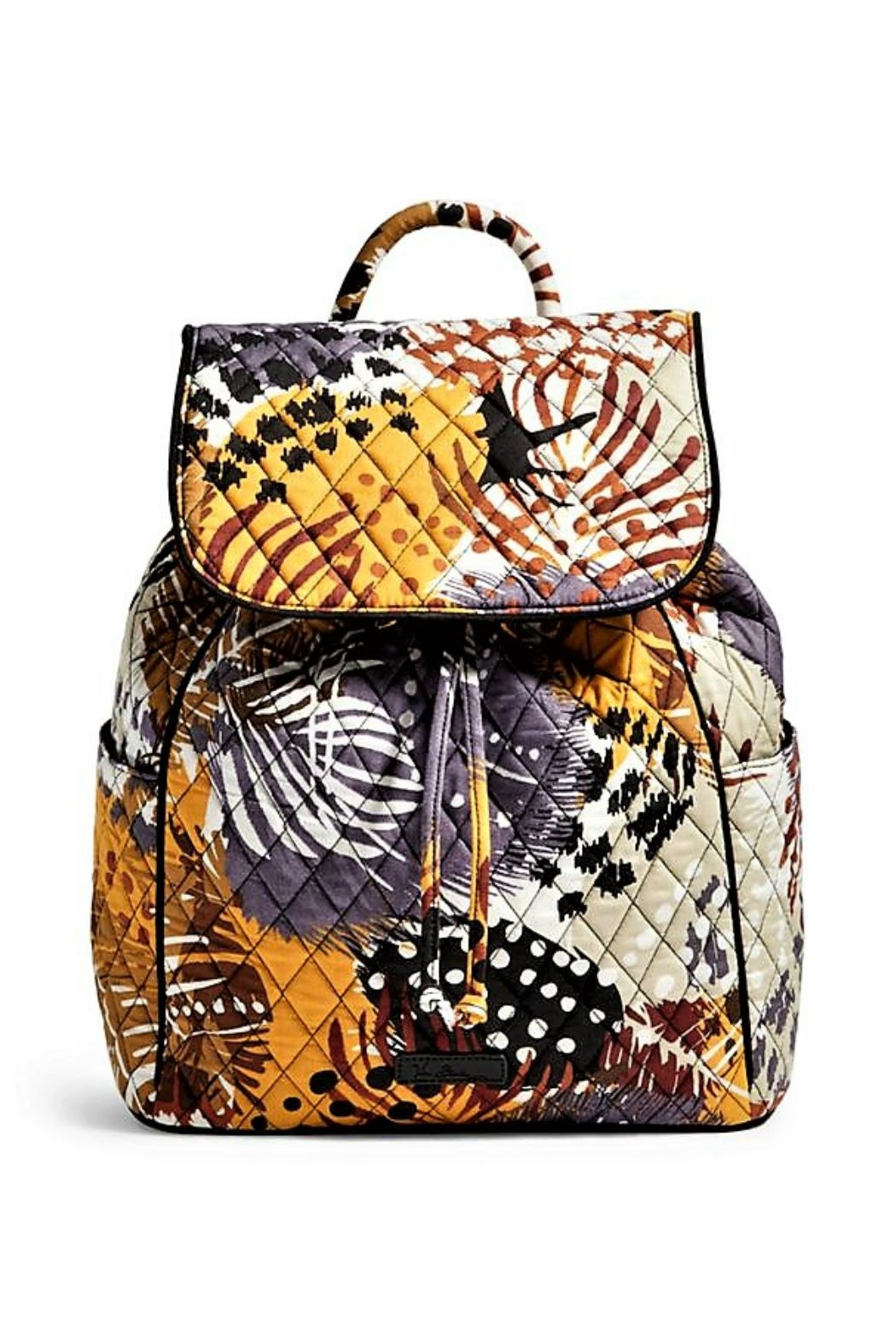 2bc8cb1a4f Vera Bradley Painted Feathers Drawstring Backpack - Front Cropped Image