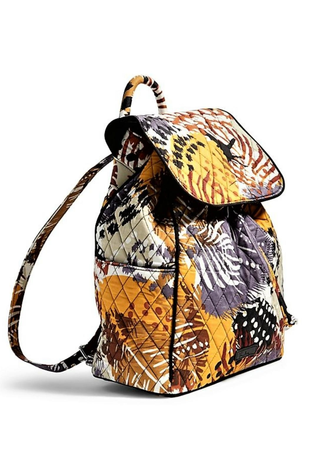 Vera Bradley Painted Feathers Drawstring Backpack - Front Full Image
