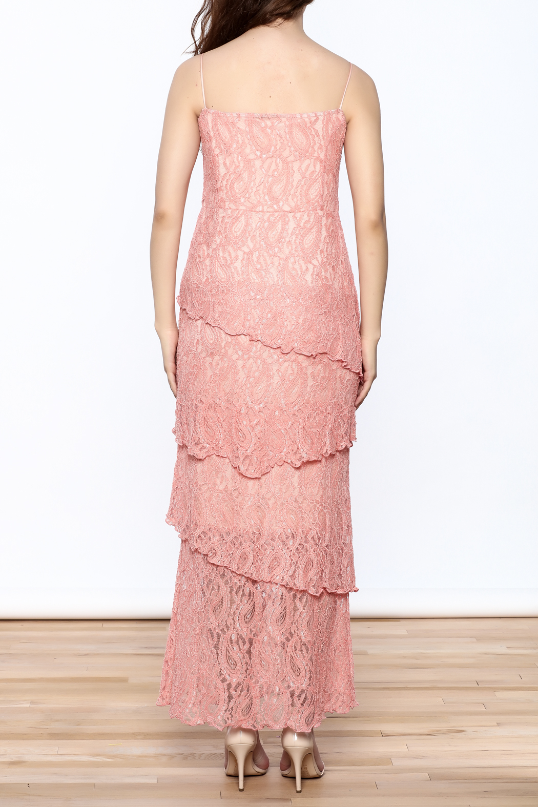 Verducci Coral Lace Tiered Dress - Back Cropped Image