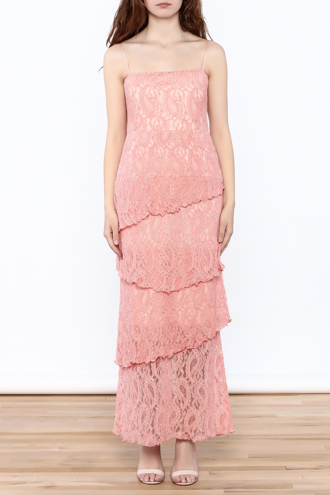 Verducci Coral Lace Tiered Dress - Front Cropped Image