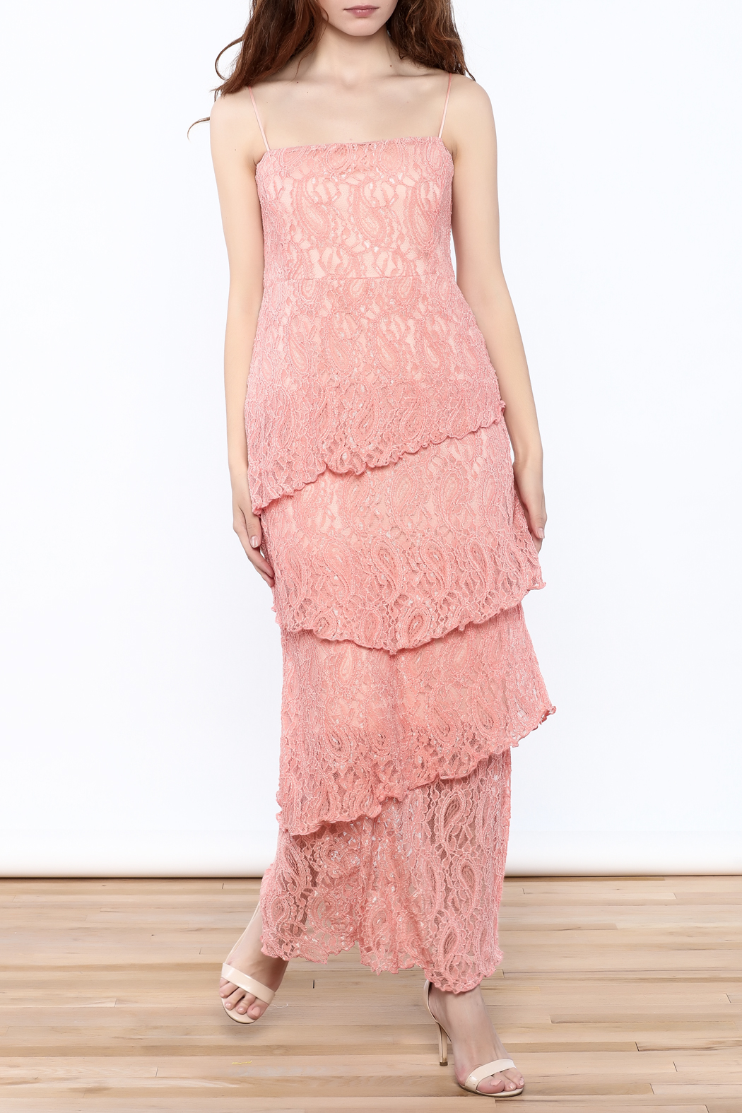 Verducci Coral Lace Tiered Dress - Main Image