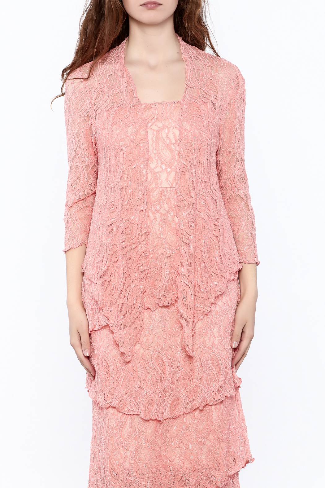 Verducci Coral Lace Jacket - Side Cropped Image