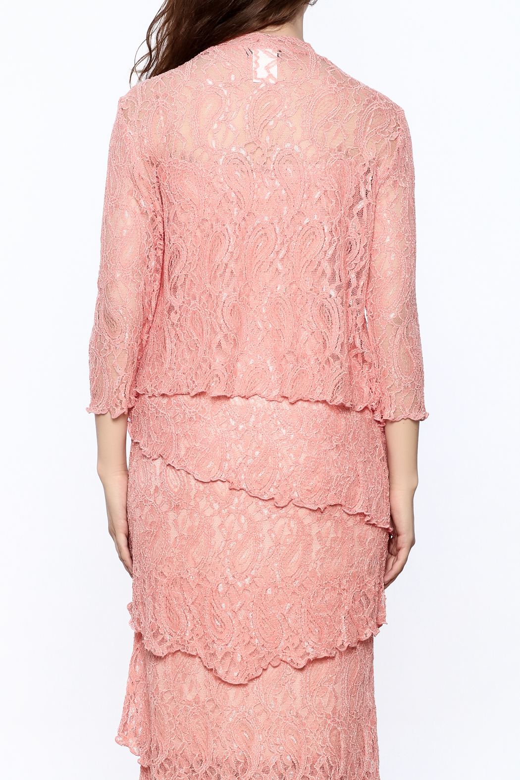 Verducci Coral Lace Jacket - Back Cropped Image