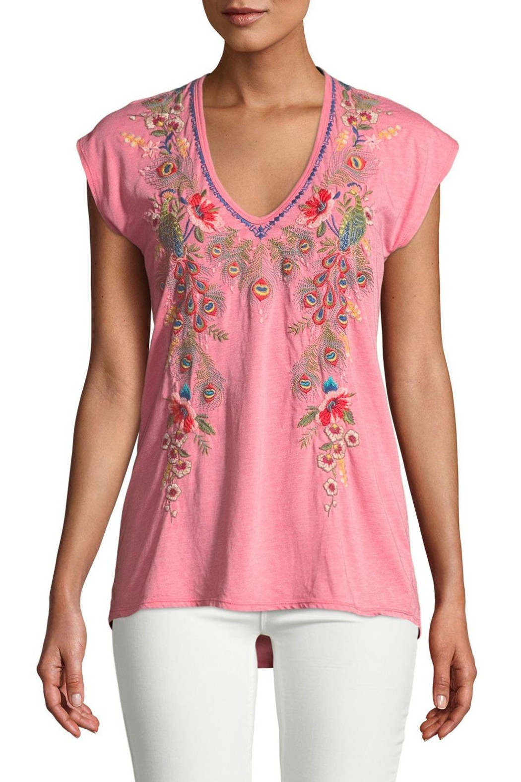 Johnny Was Vernazza Embroidered Tee - Front Cropped Image