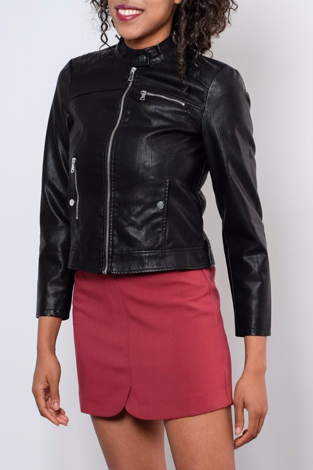 Vero Moda Faux Leather Racer Jacket - Front Full Image