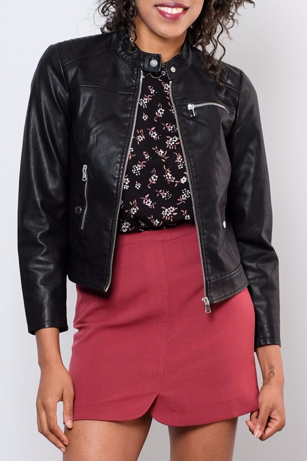 Vero Moda Faux Leather Racer Jacket - Front Cropped Image