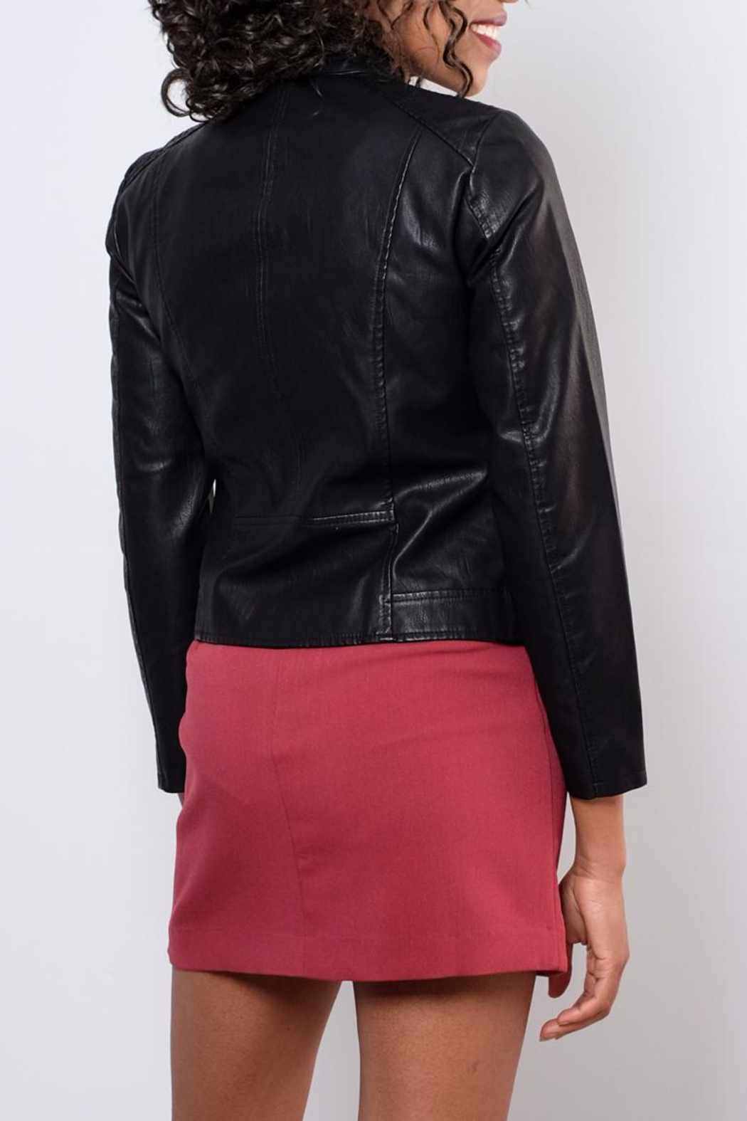 Vero Moda Faux Leather Racer Jacket - Side Cropped Image