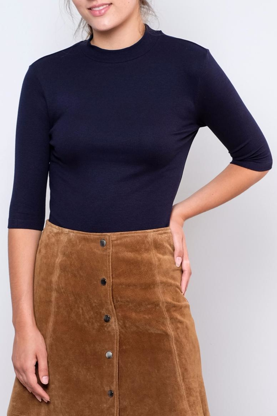Vero Moda Fitted Mock-Neck Top - Front Cropped Image