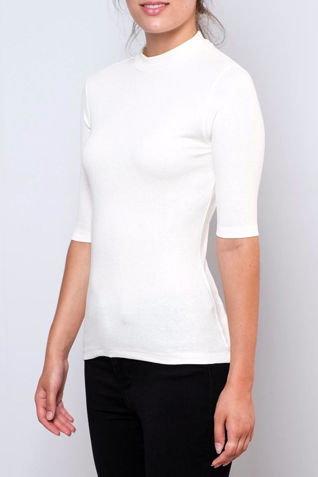 Vero Moda Fitted Mock-Neck Top - Front Full Image