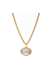 Julie Vos Verona Statement Necklace Gold Iridescent Clear Crystal - Product Mini Image