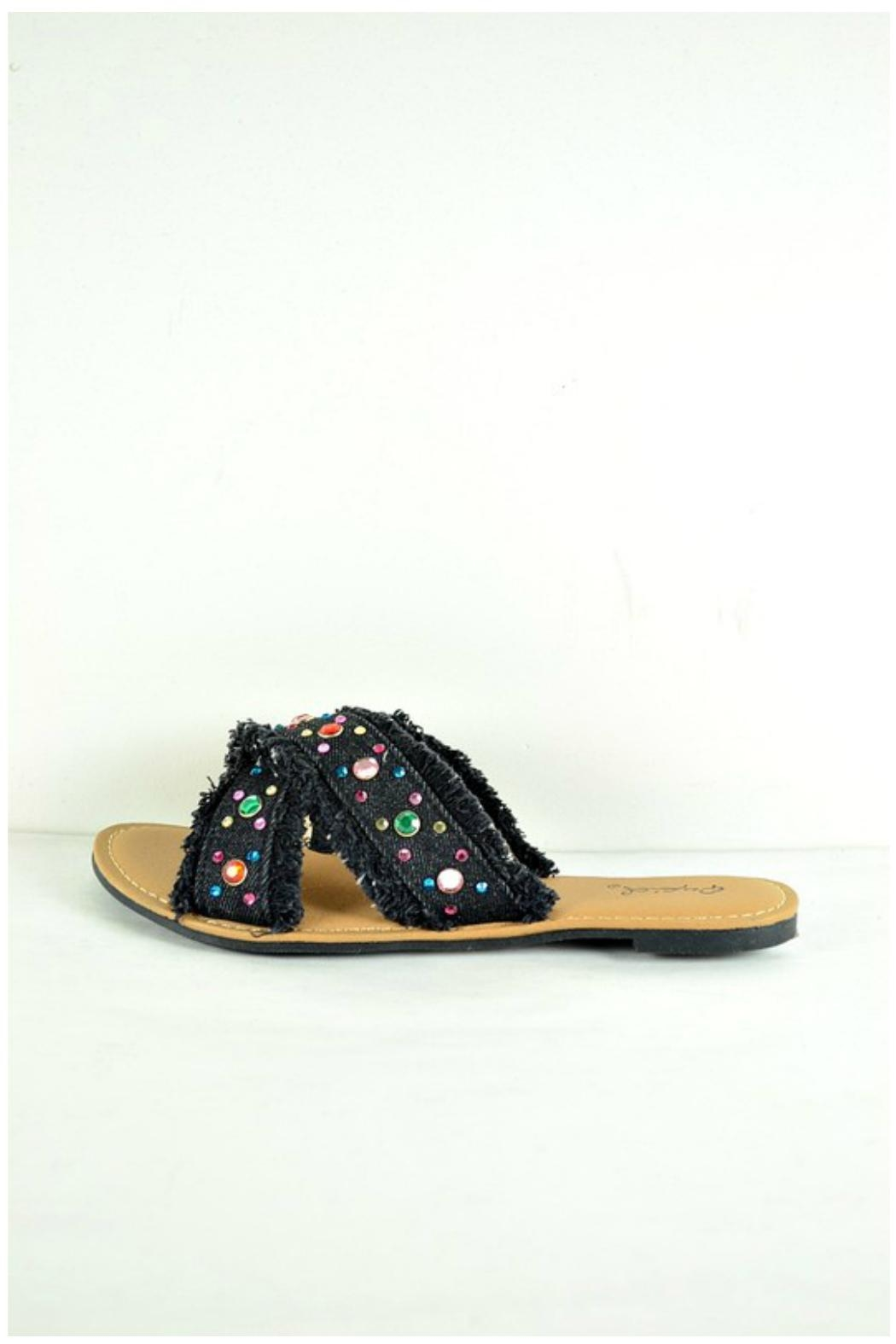 Verona Collections  Rhinestone Denim Flipflop - Front Full Image