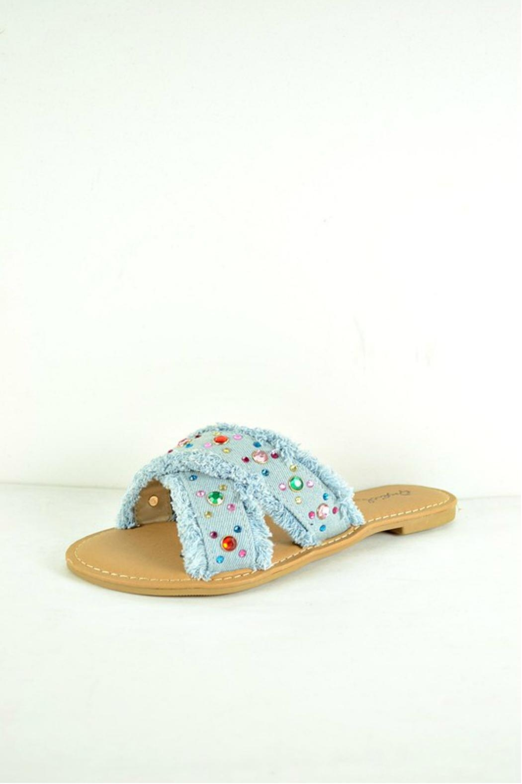 Verona Collections  Rhinestone Denim Flipflop - Main Image