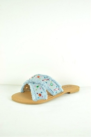 Verona Collections  Rhinestone Denim Flipflop - Front cropped