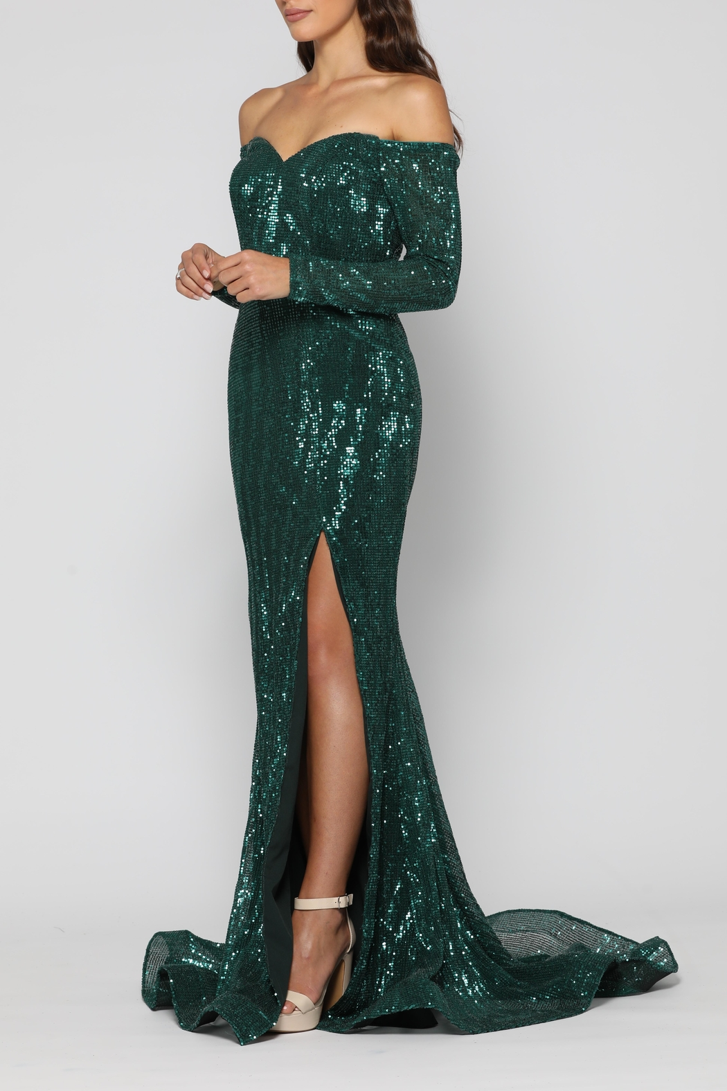 YSS the Label Veronica Gown Emerald - Front Full Image